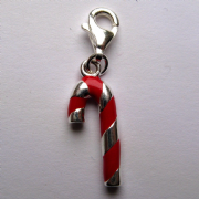Sterling Silver clip on Enamelled Candy cane charm